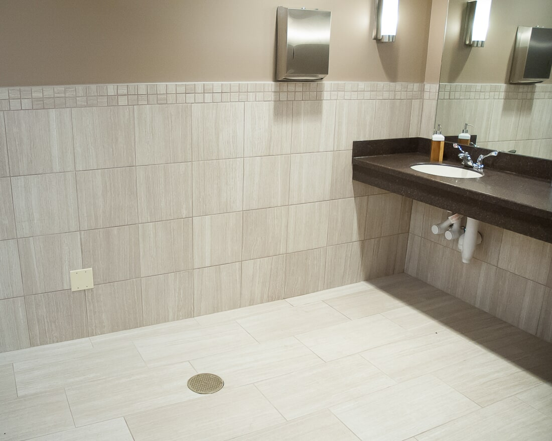 Commercial bathroom design at Crossway Chapel in Batavia, IL from Carlson's Floors