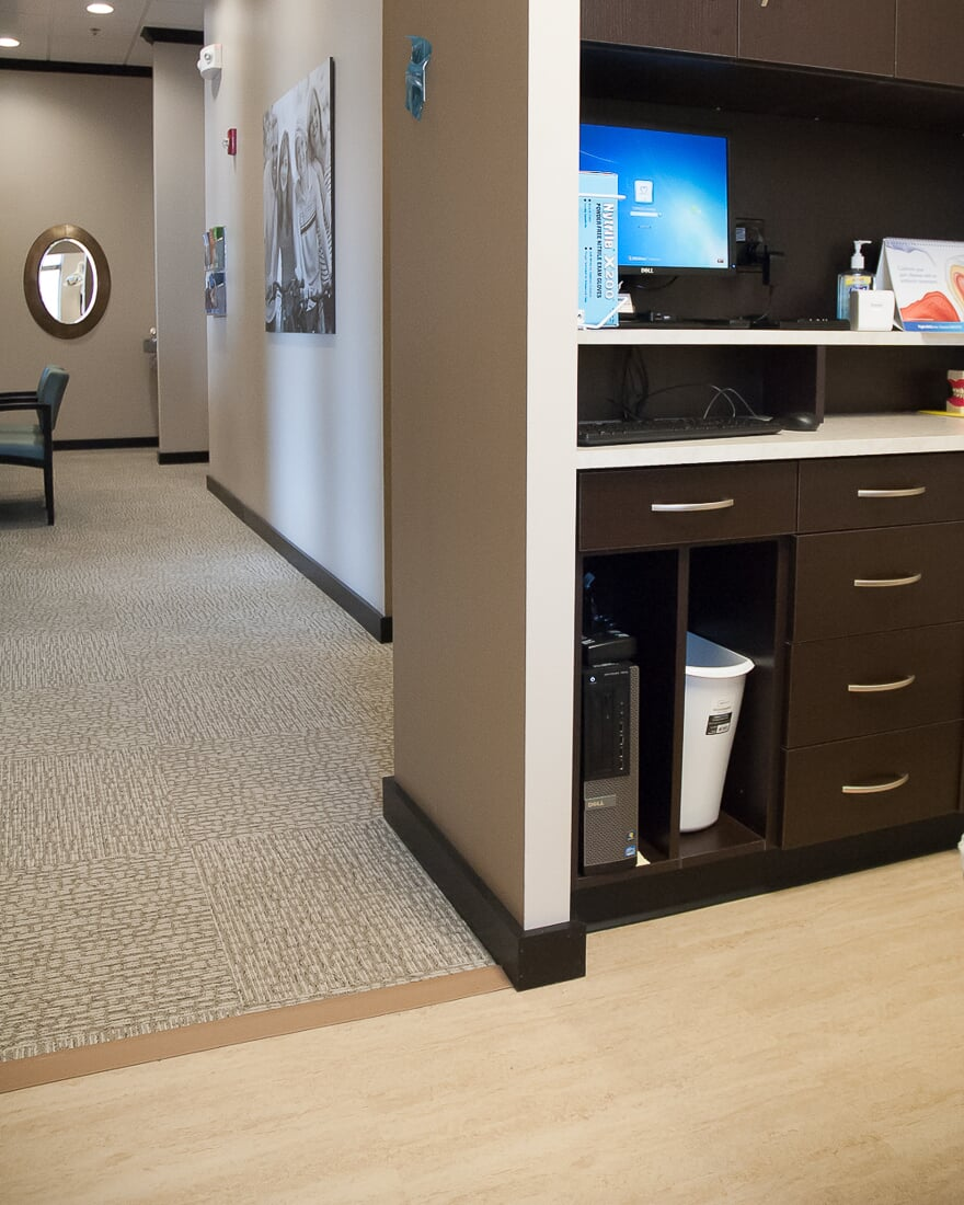 Flooring transition at Oswego Dental in Oswego, IL from Carlson's Floors