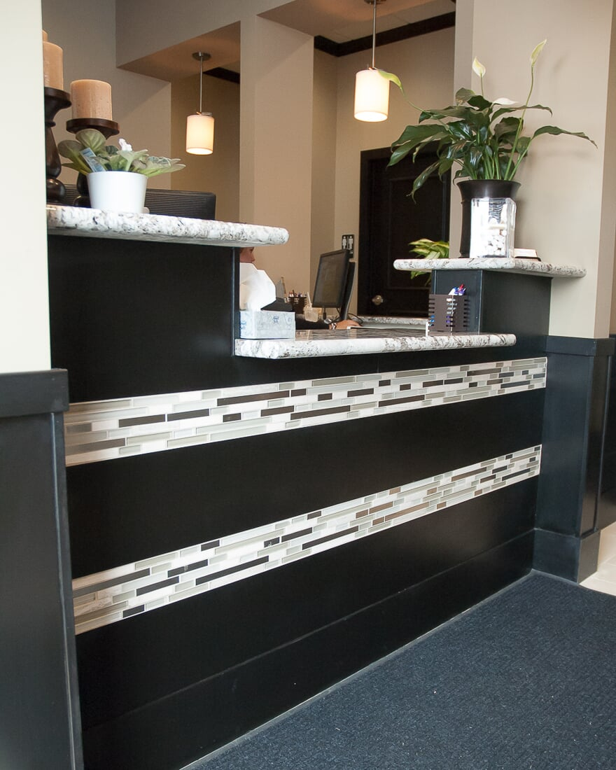 Glass tile accents at Oswego Dental in Oswego, IL from Carlson's Floors