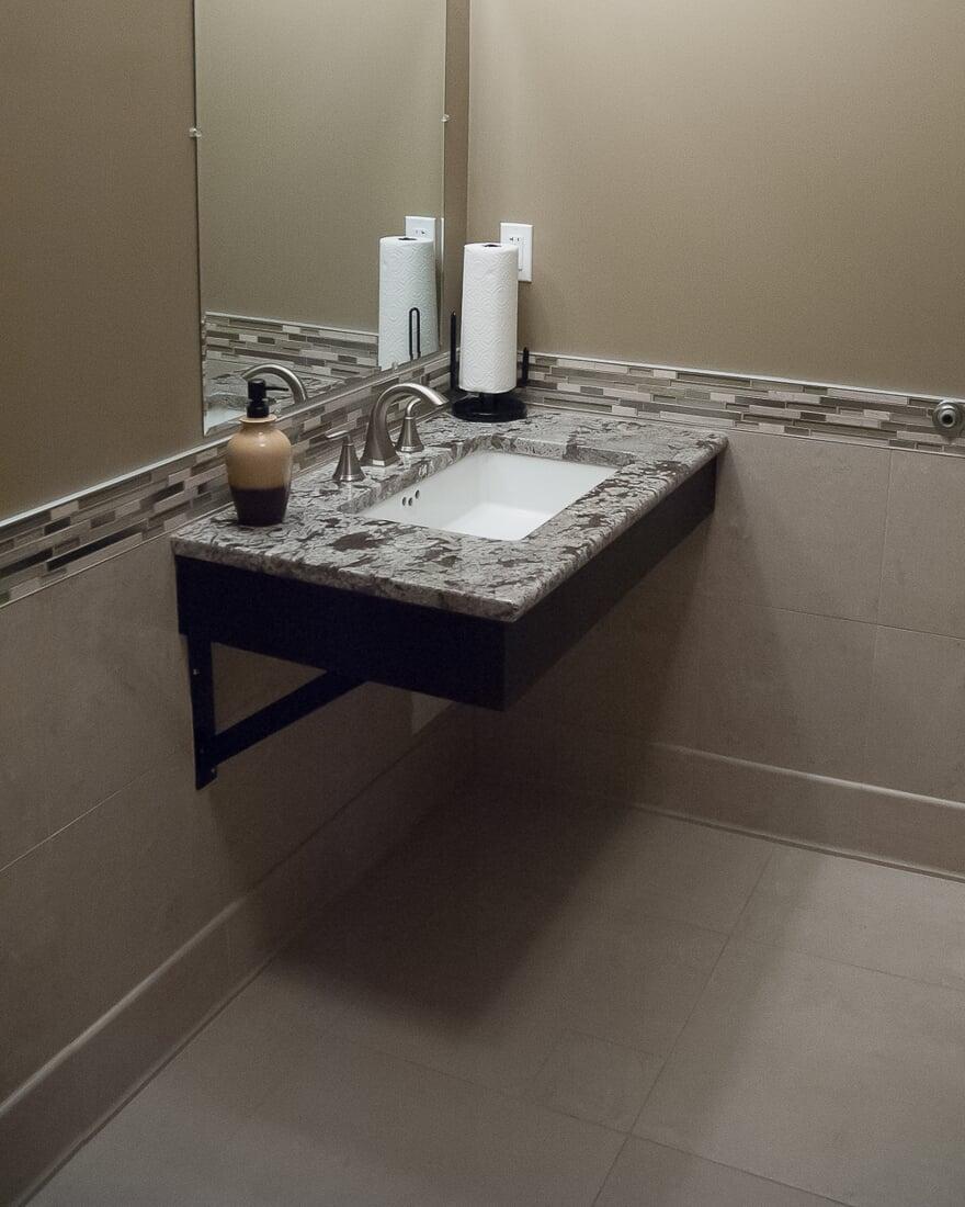 Commerial bathroom installation at Oswego Dental in Oswego, IL from Carlson's Floors