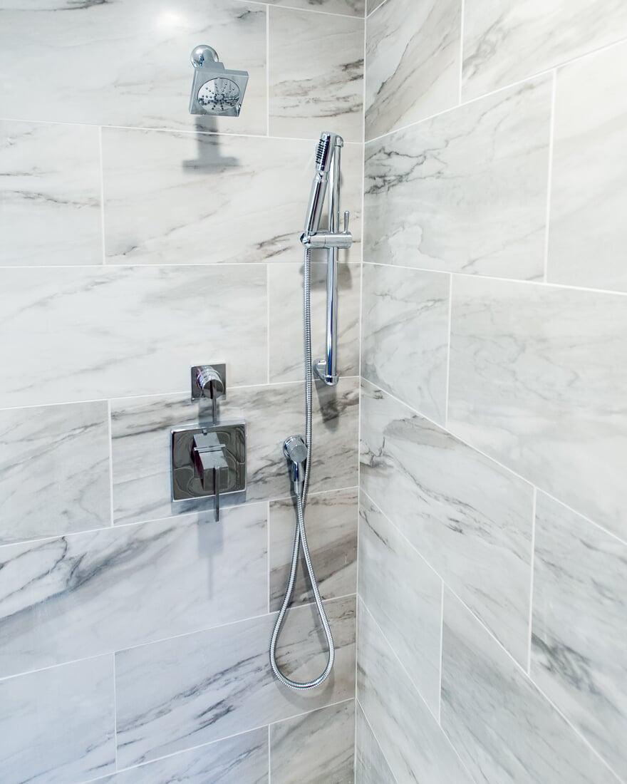 Modern shower hardware in Geneva, IL from Carlson's Floors