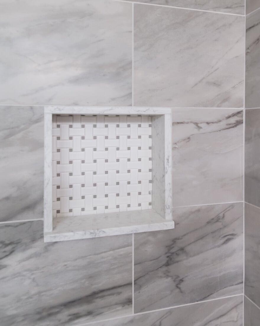 Basketweave porcelain tile in Geneva, IL from Carlson's Floors