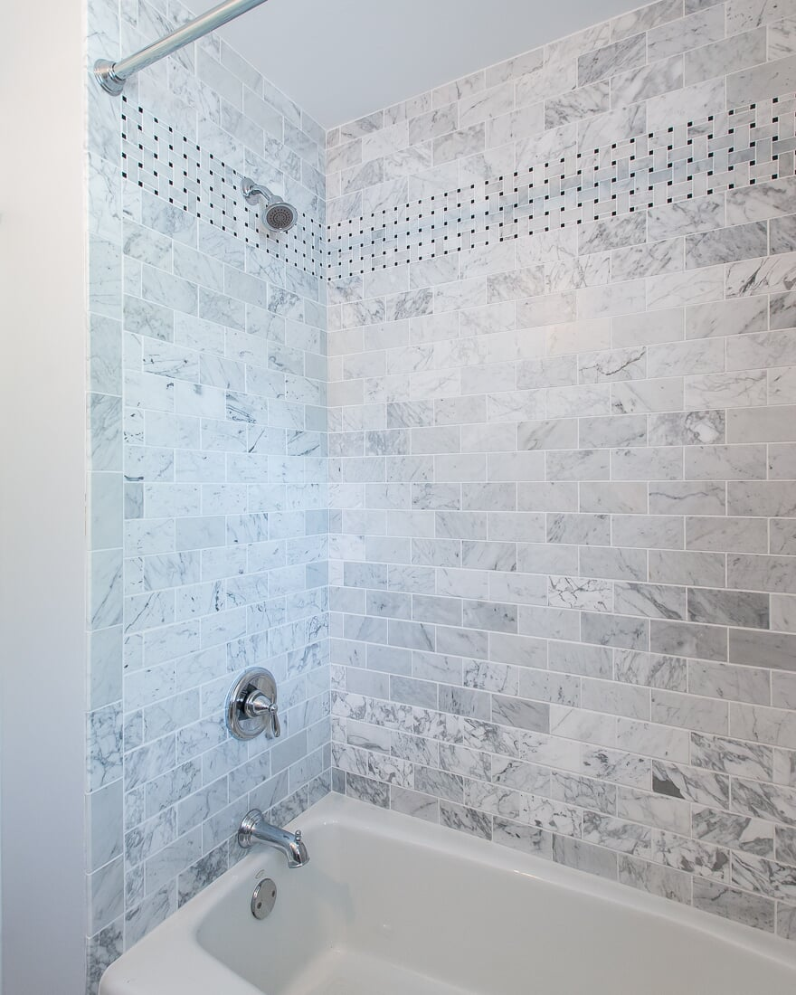 Marble subway tile shower in Geneva, IL from Carlson's Floors