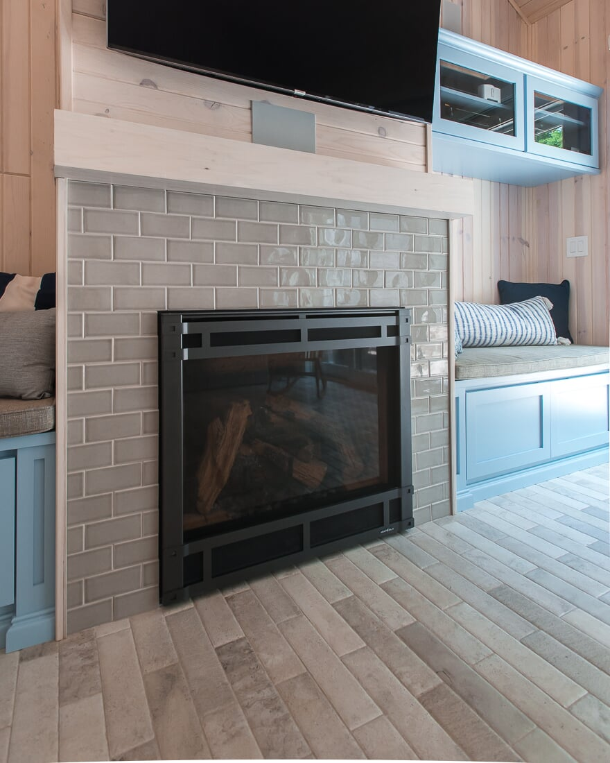 Subway tile fireplace surround in Geneva, IL from Carlson's Floors