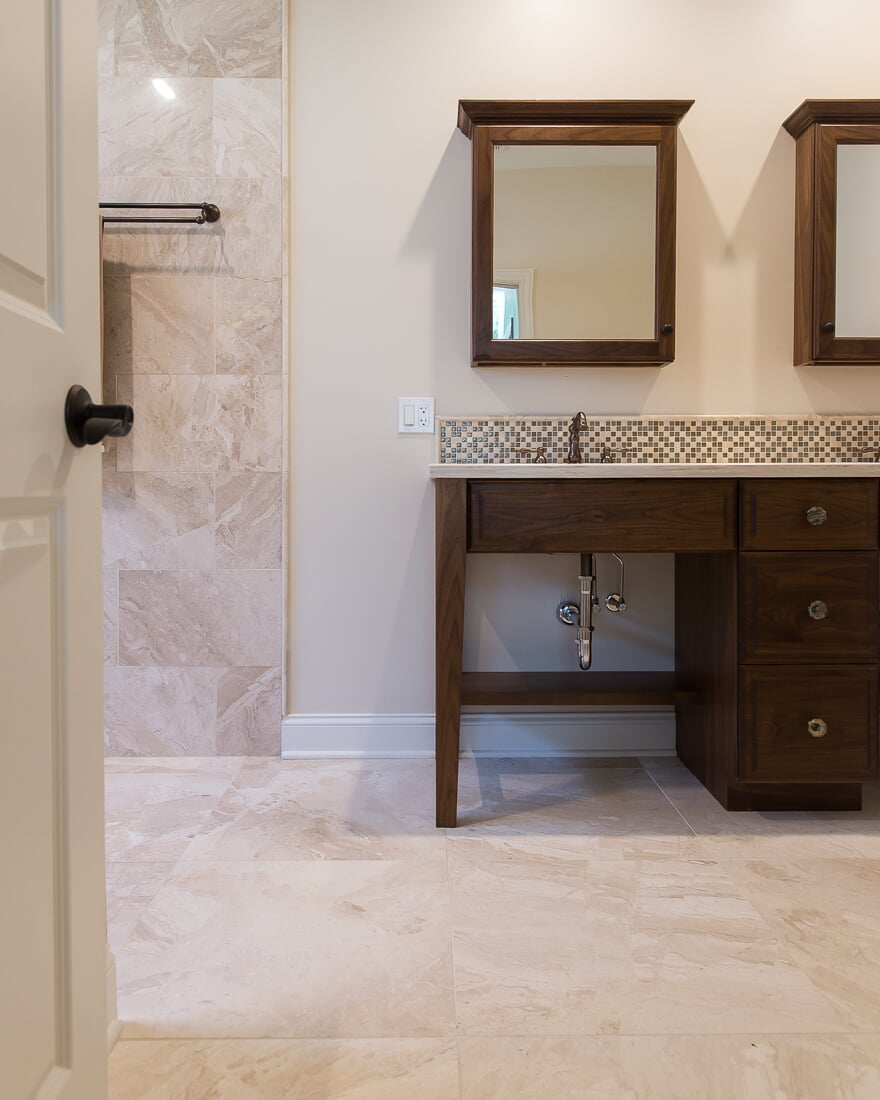 Natural stone bathroom design in Geneva, IL from Carlson's Floors