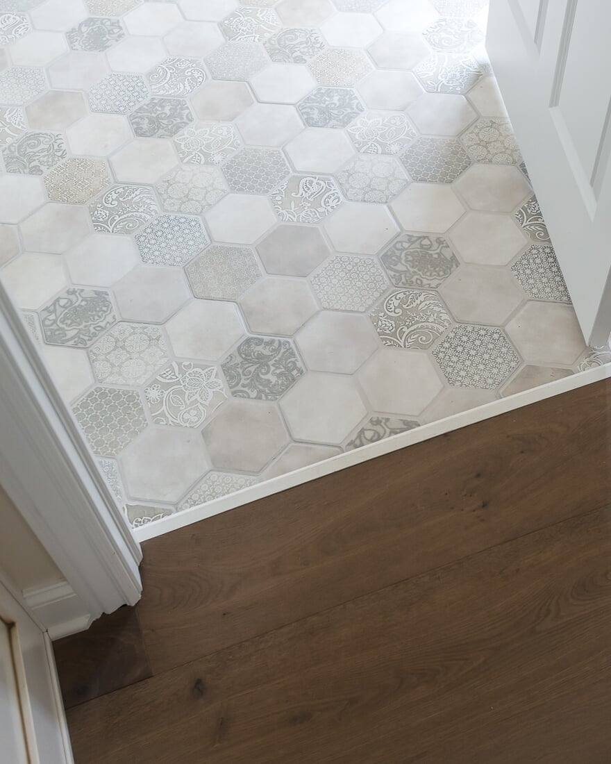 Mosaic hex floor tile in Geneva, IL from Carlson's Floors