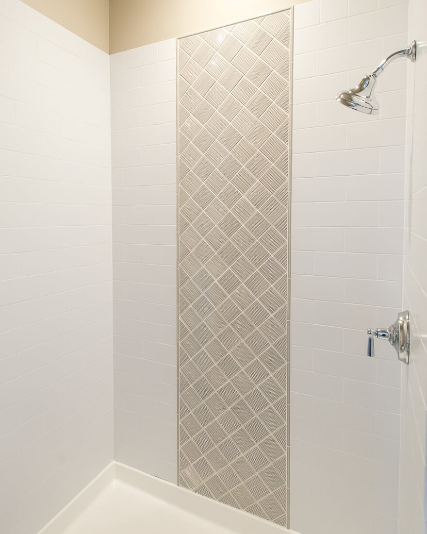Simplistic tile shower in Lake Holiday, IL from Carlson's Floors