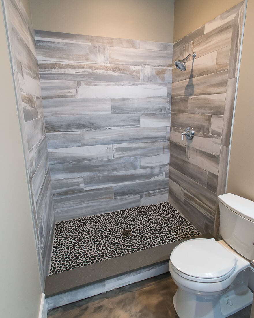 Rustic tile shower in Lake Holiday, IL from Carlson's Floors