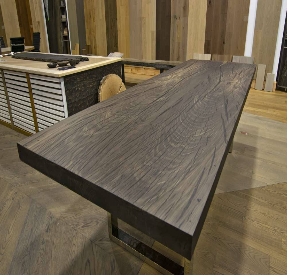 Natural wood slab table in Stamford, CT from SunShine Floor Supplies