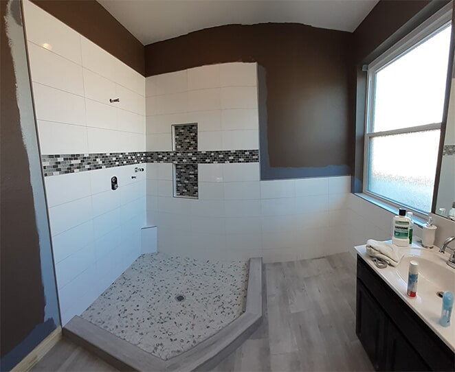 shower remodel after from ALL-PRO FLOORS in Dallas–Fort Worth