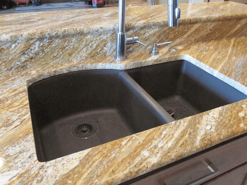 Gold-tone granite countertops in Webb City, MO from Joplin Floor Designs