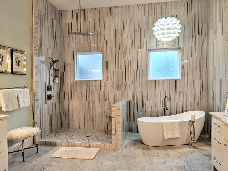 Wood look tile bathroom design in Daphne, AL from G & J Tile & Floor Covering