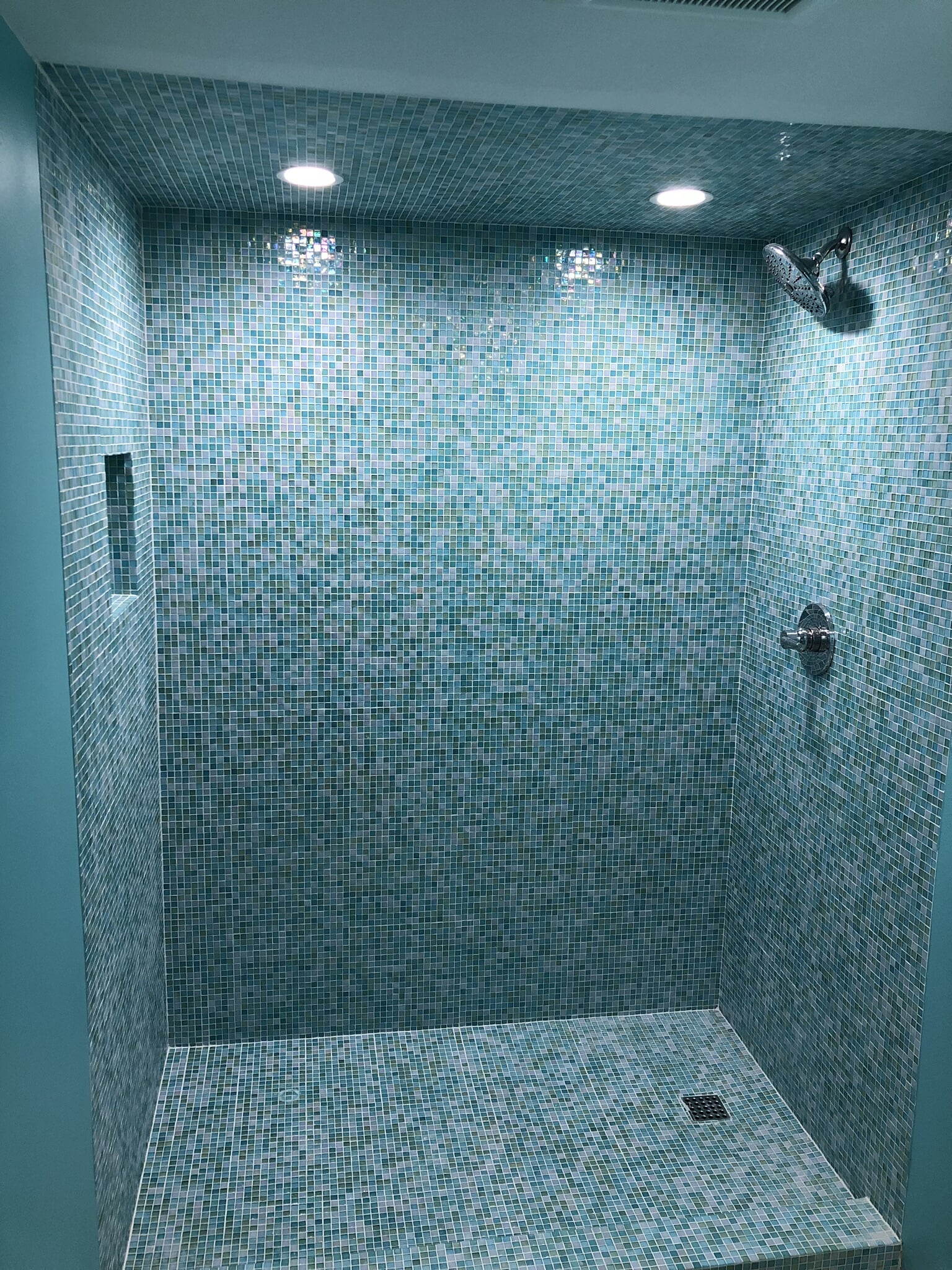 All glass tile shower in Foley, AL from G & J Tile & Floor Covering