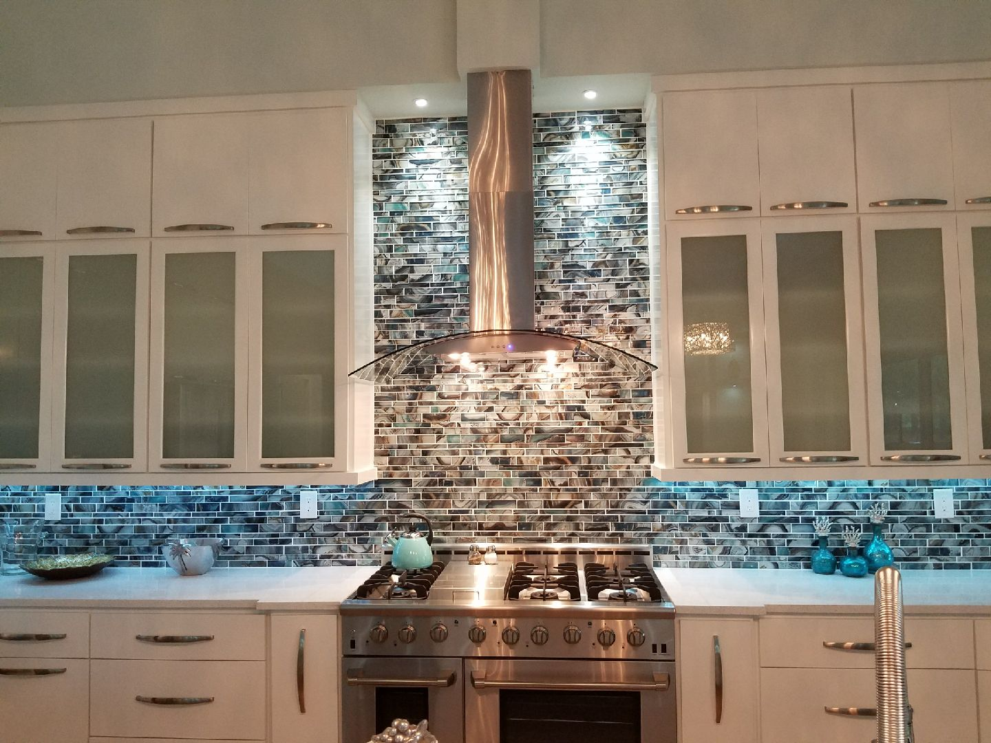Custom glass tile backsplash in Fairhope, AL from G & J Tile & Floor Covering
