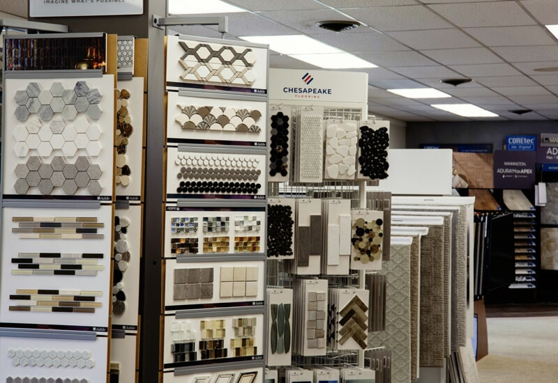 Tile options from A.W. Bergey & Sons Inc. showroom near Harleysville, PA