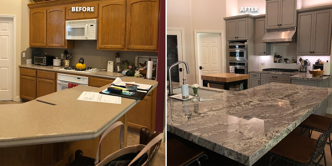 Sac City Cabinets with Bedrosian Granite Countertop, color: Royal Dream, and Cortopassi backsplash in Folsom, CA from Designing Dreams Flooring & Remodeling