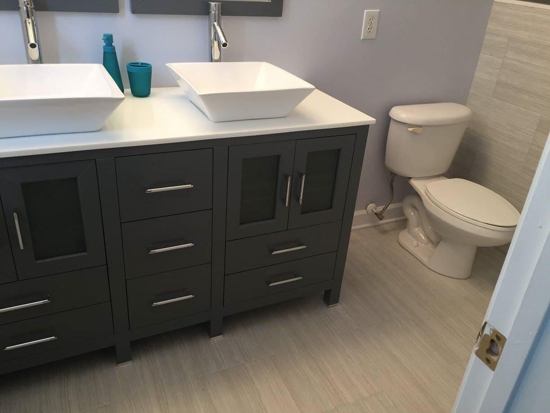 Modern bathroom remodel in Harrisburg, NC from Custom Floor Solutions