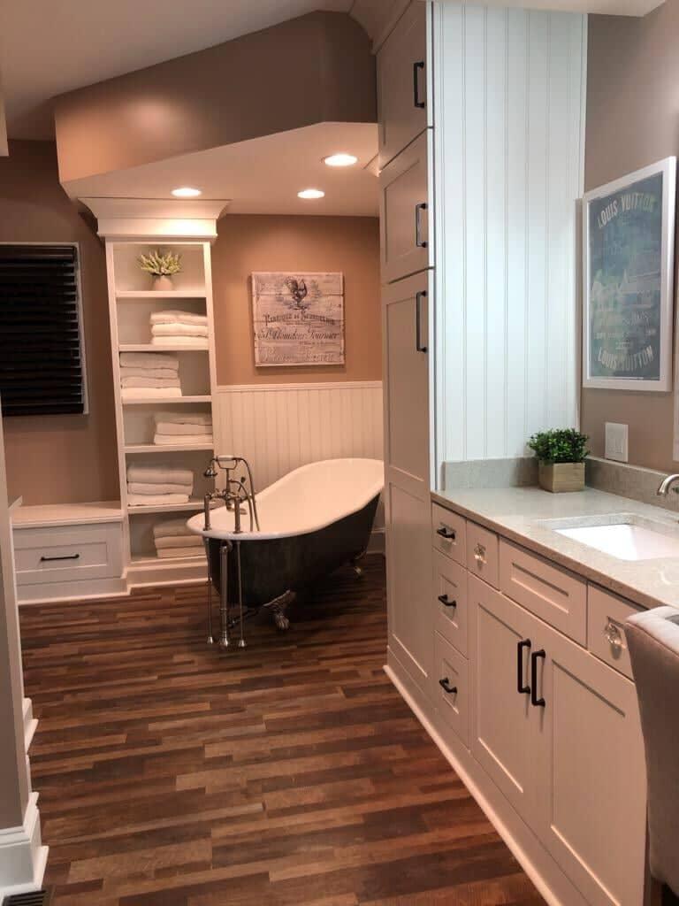 Wood look bathroom flooring in Harrisburg, NC from Custom Floor Solutions