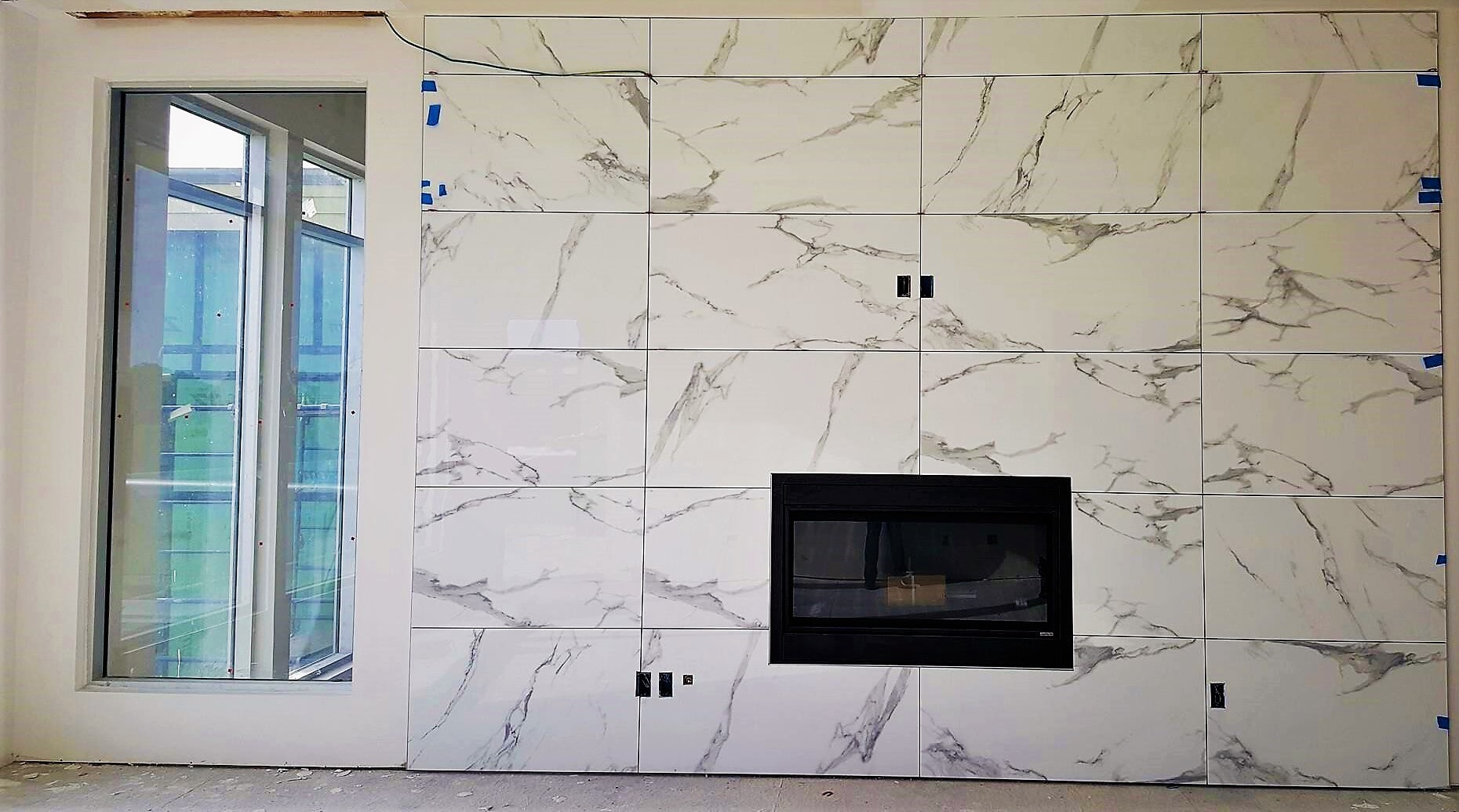 Marble fireplace surround in Carrollton, TX from SJ FloorSolutions LLC