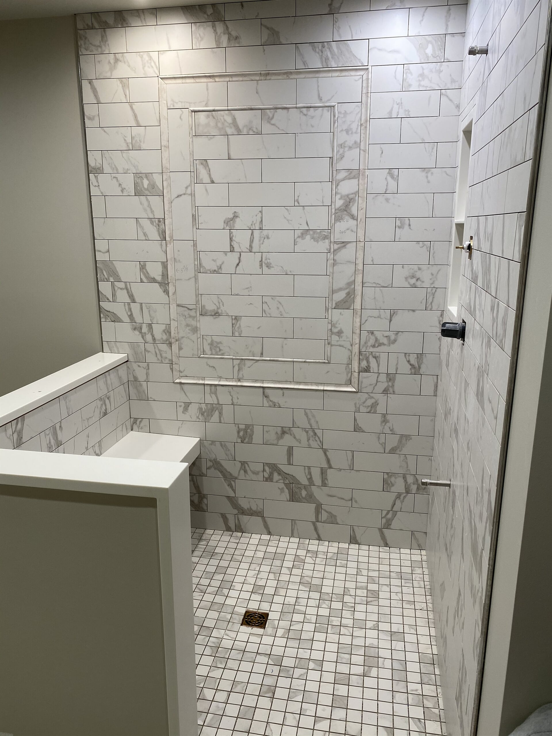 Marble subway tile shower in Pottstown, PA from Freedom Flooring