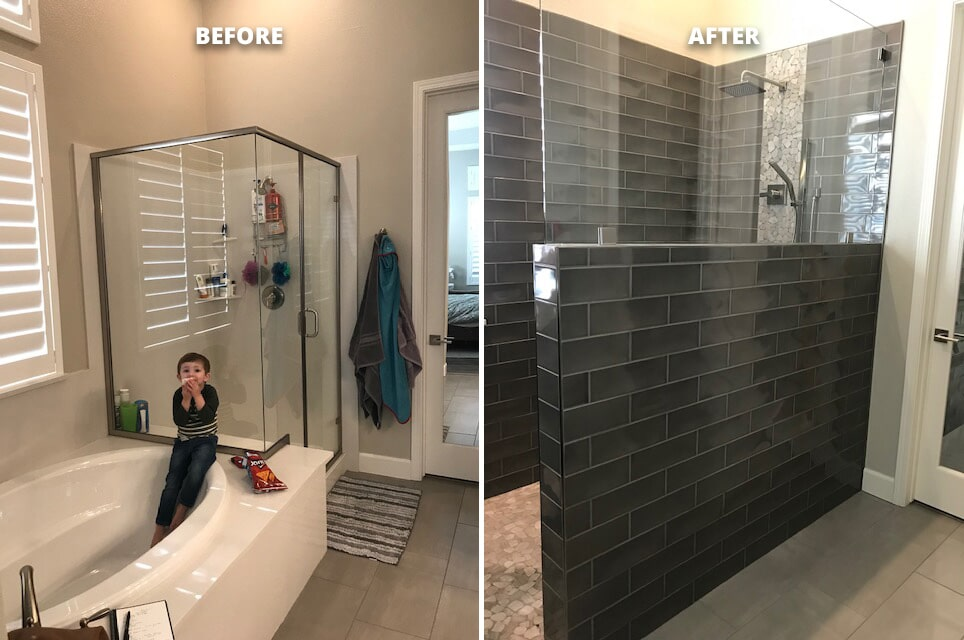 El Dorado master bath remodeling and full walk in, curb-less shower from Designing Dreams Flooring & Remodeling