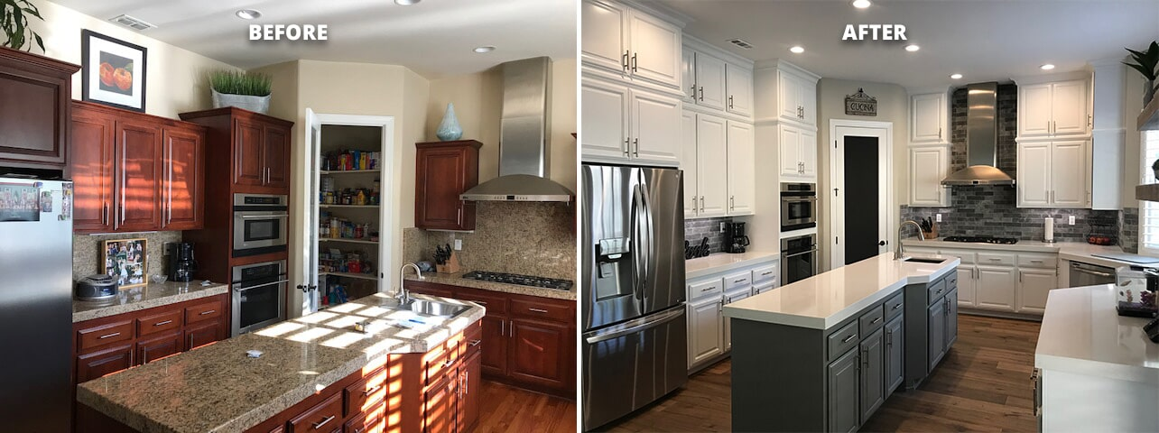 Custom installation of cabinets from Thomas Custom Woodwork by Designing Dreams Flooring & Remodeling