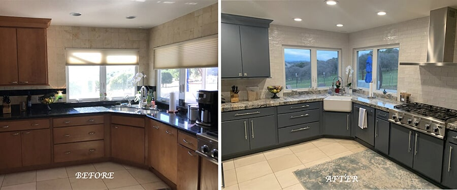 Gorgeous kitchen remodel we did in Pilot Hill using Silk Shera backsplash by Palm Tile along with the outstanding Azurite Blue Granite countertops by Bedrosians.