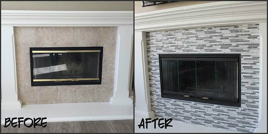 Before and after luxury tile fireplace in Granite