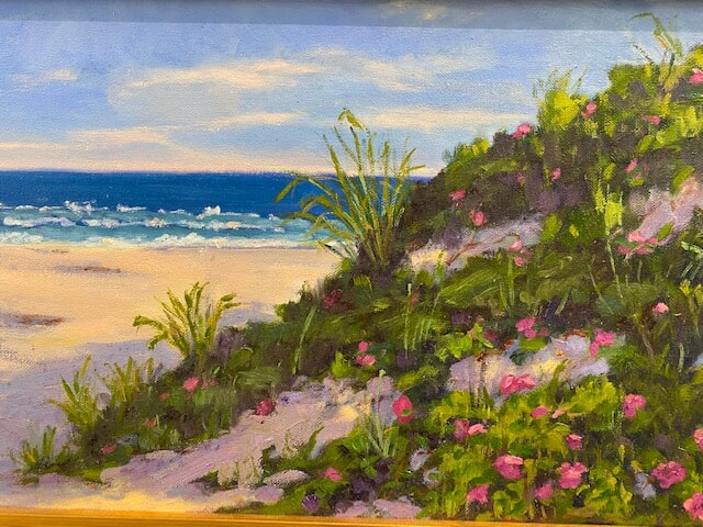 Beach Roses oil painting by Anne Costello