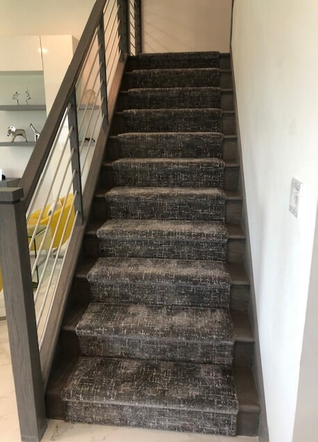 Custom stair runner installation for Britney C in Boca Raton. Style: Jubilee, Color: Celebration from Kane Carpet by Capitol Carpet & Tile and Window Fashions