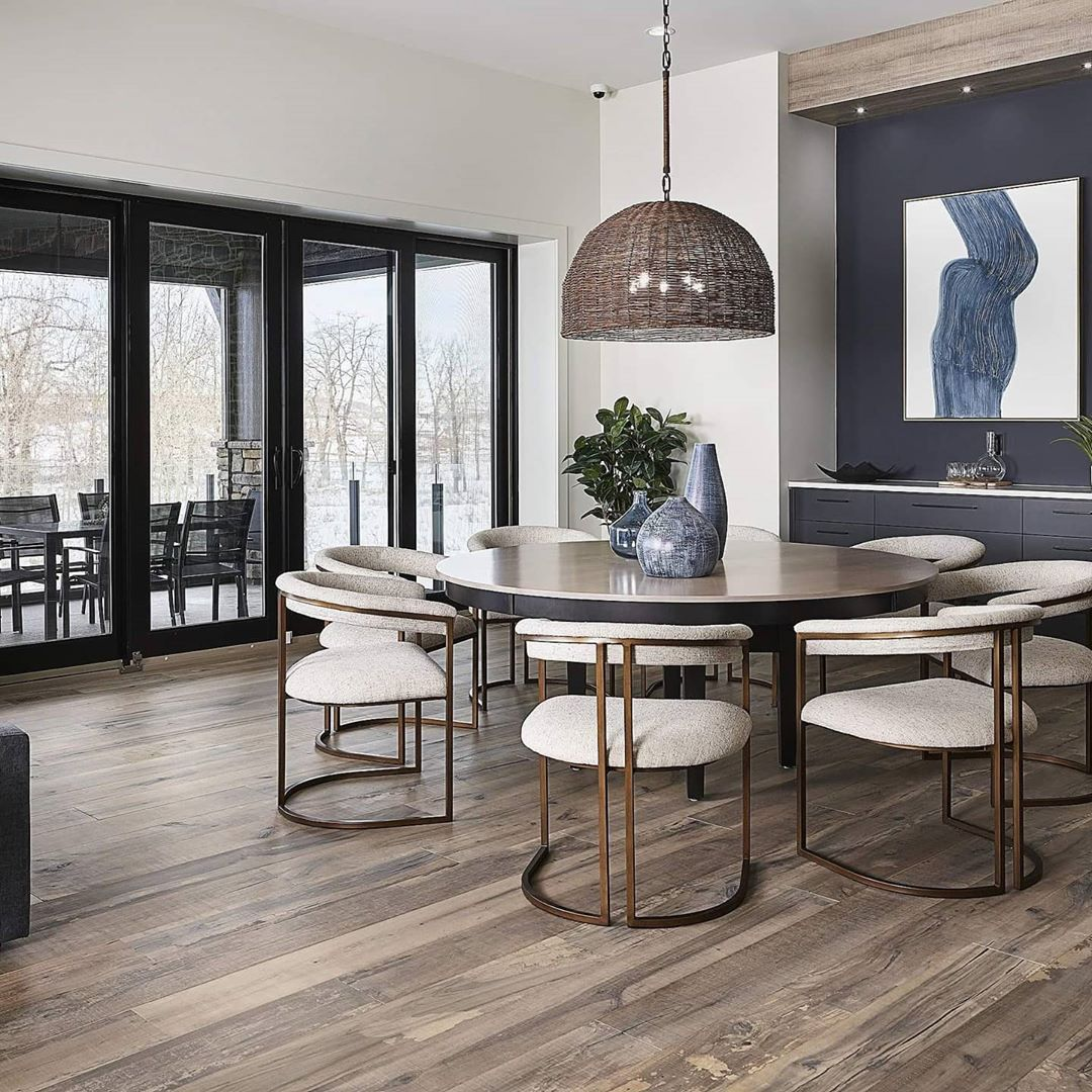 Distressed engineered wood floors in a Bridgeport, CT home