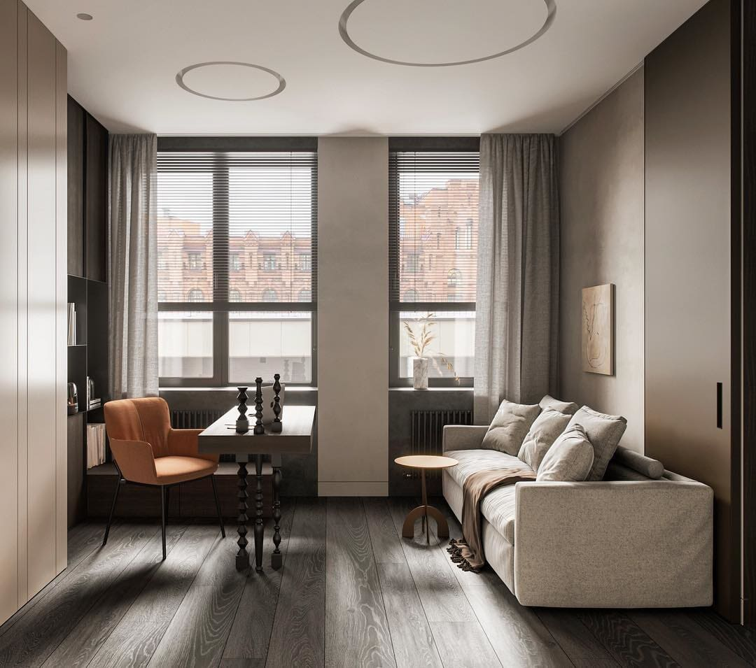 Gray engineered hardwood flooring in a Bridgeport, CT apartment