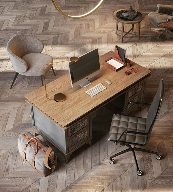 Custom Bridgeport, CT home office with rustic chevron hardwood flooring