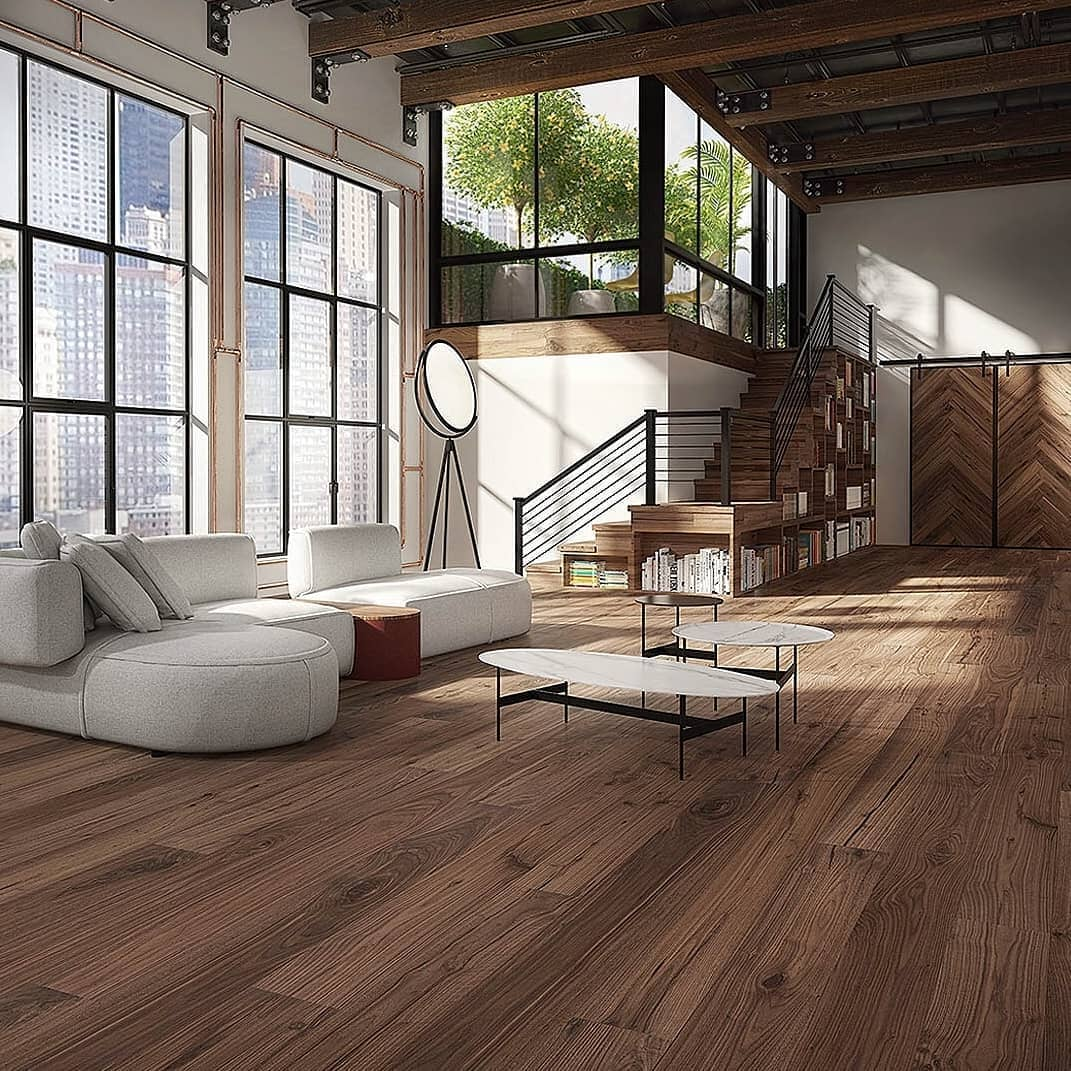 Stamford, CT hardwood flooring with lots of natural grain in an industrial inspired home