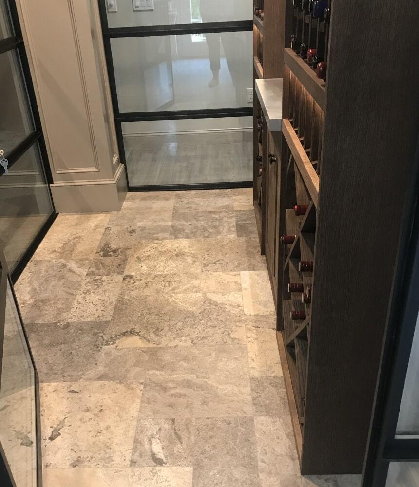 Wine cellar flooring installation in Hartford, CT from Custom Floors