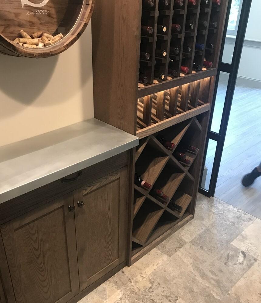 Wine cellar dry bar installation in Hartford, CT from Custom Floors