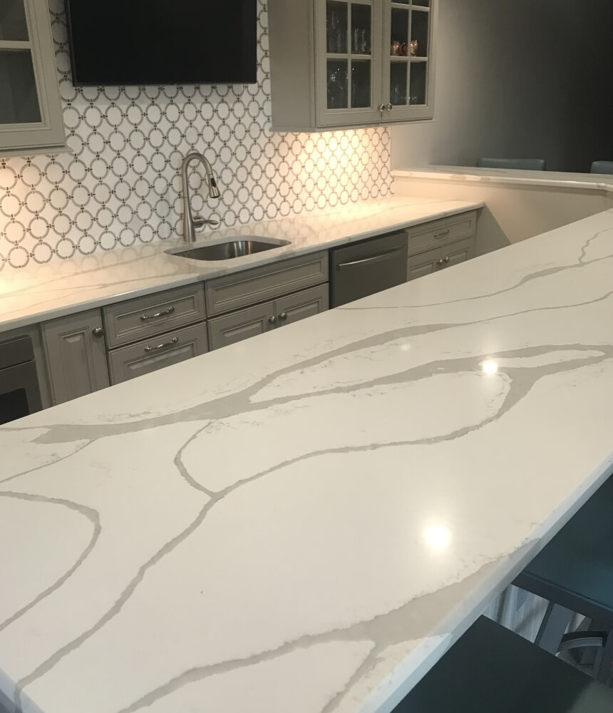 White stone countertops in Rocky Hill, CT from Custom Floors