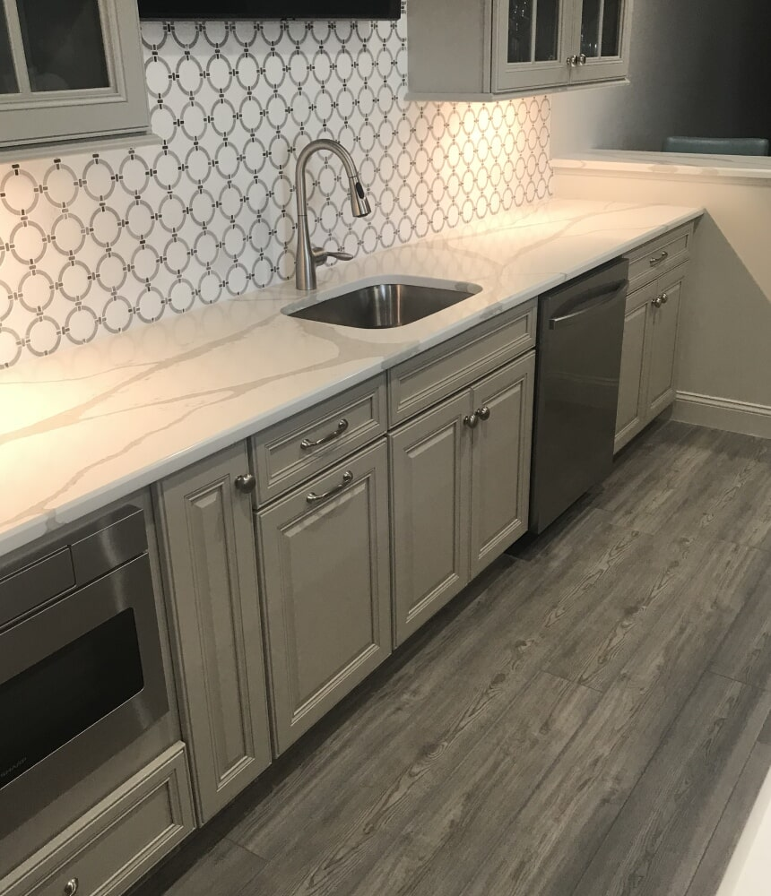 Modern counters and backsplash in Rocky Hill, CT from Custom Floors