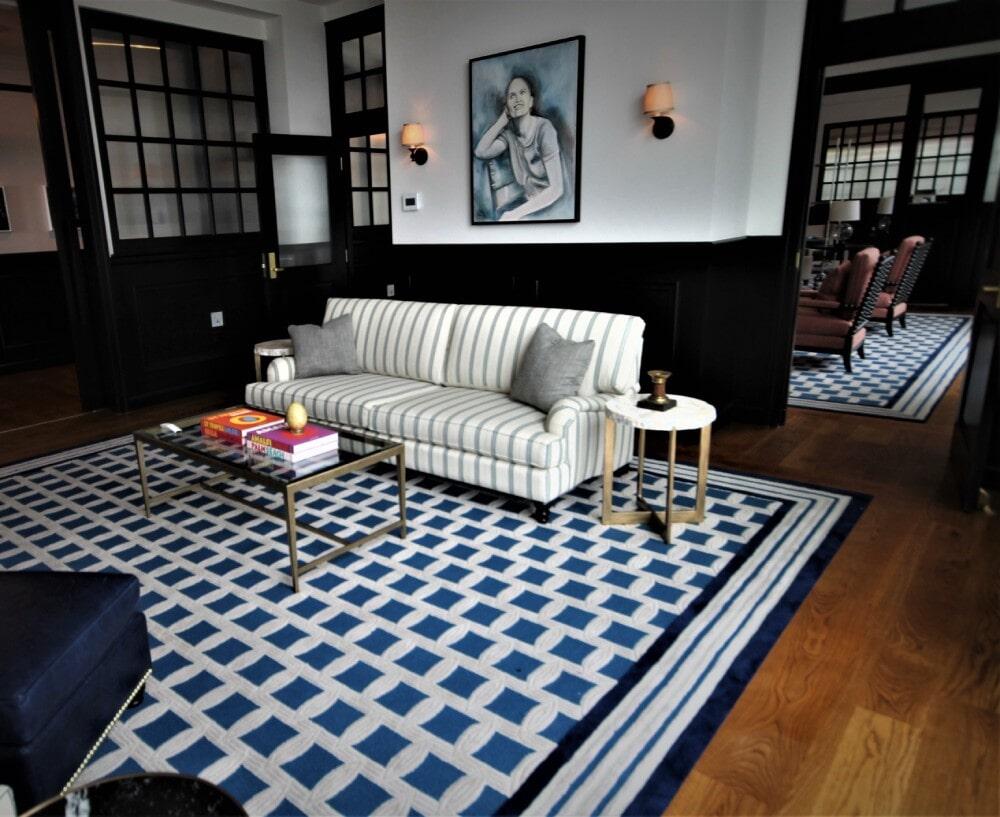 Newport RI Hametts Wharf Hotel Shaw Inlaid Custom Carpet  Engineered White Oak 8 Inch Plank in Bridgewater, MA from Paramount Rug Company