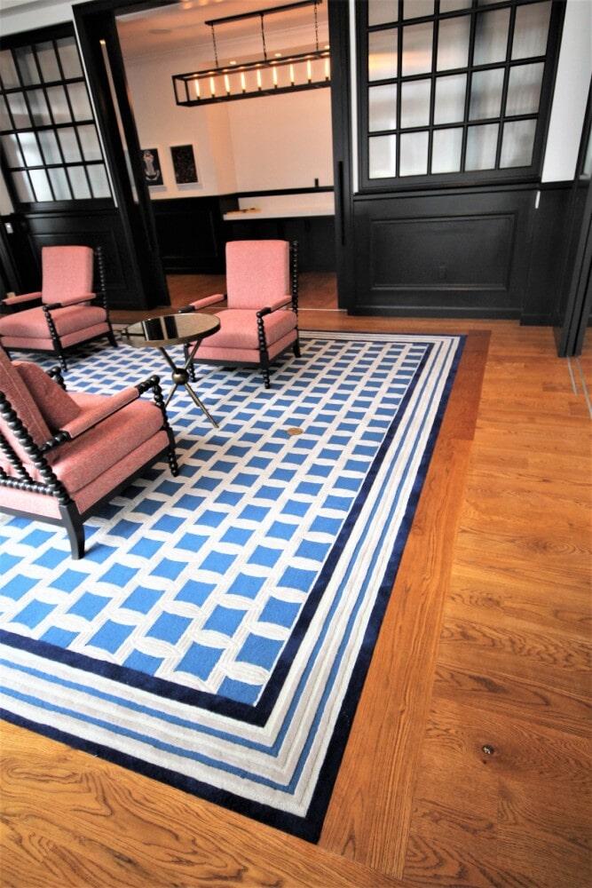 Newport RI Hametts WharfHotel Common Area Engineered White Oak Shaw Inlaid Custom Carpet in Hyannis, MA from Paramount Rug Company