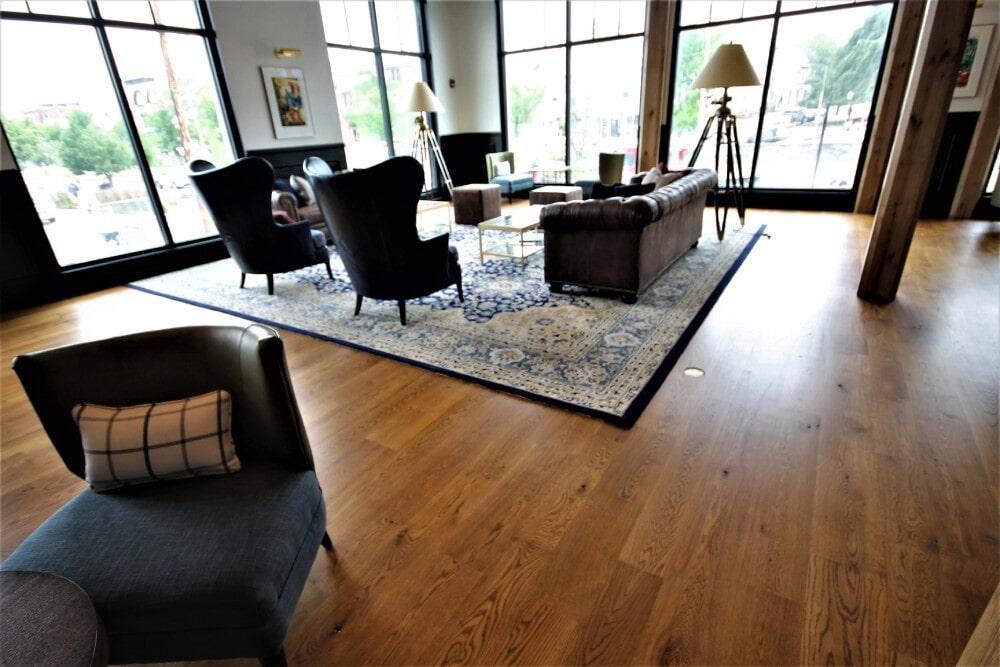 Newport RI Hammetts Wharf Hotel Lobby Engineered White Oak 8 inch plank width in Mansfield, MA from Paramount Rug Company