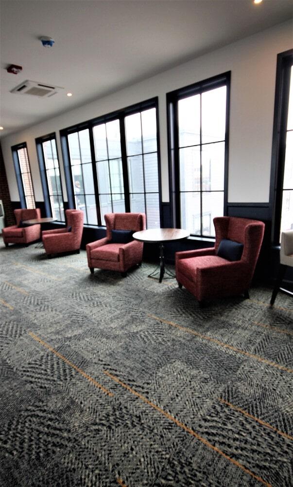 Newport RI Hammetts Wharf Hotel Lounge Area Shaw Hospitality Carpet in Easton, MA from Paramount Rug Company