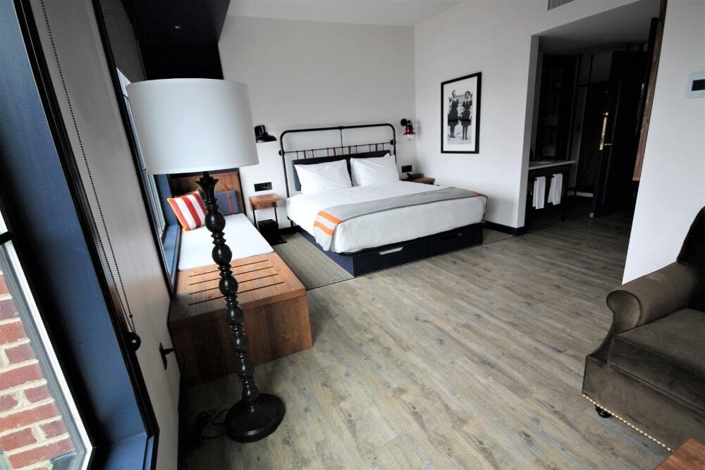 Newport RI Hammetts Wharf Hotel Room Parterre Flooring Vertu 6 x36 Plank Lancaster Patina Shaw Herringbone Carpet in Mansfield, MA from Paramount Rug Company