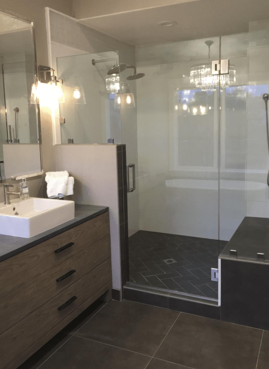 Frameless shower door in Orange, CA from TS Home Design Center / Rite Loom Flooring