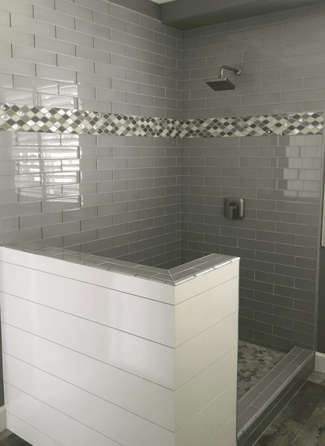 Modern tile shower in Yorba Linda, CA from TS Home Design Center / Rite Loom Flooring