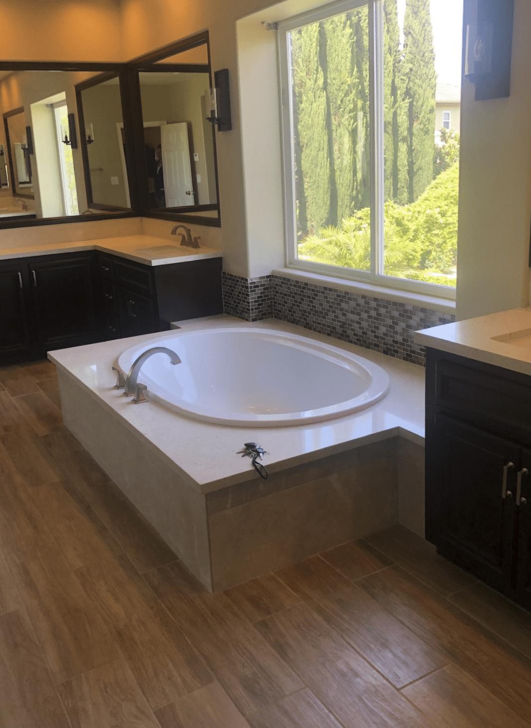 Gorgeous soaking tub in Anaheim, CA from TS Home Design Center / Rite Loom Flooring