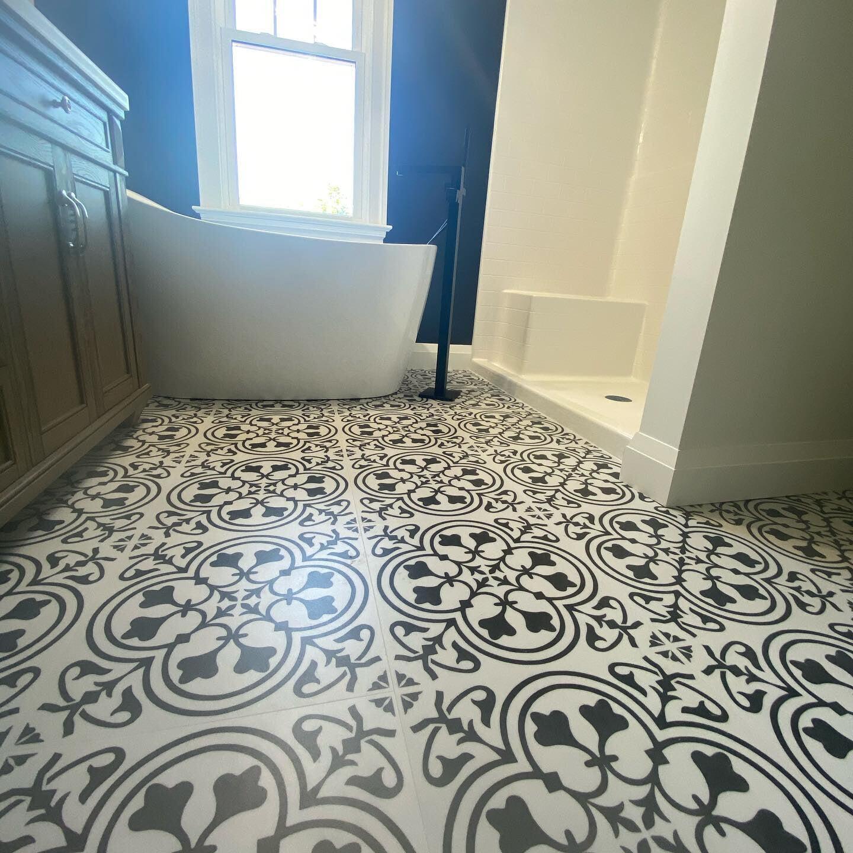 Ornate bathroom floor tiles in Reading, PA from Freedom Flooring