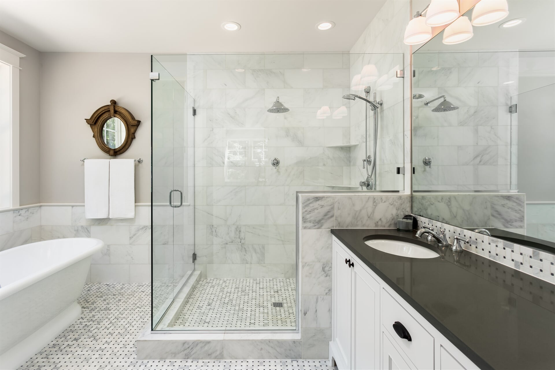 Marble tile shower in Blue Bell, PA from Interior Trend