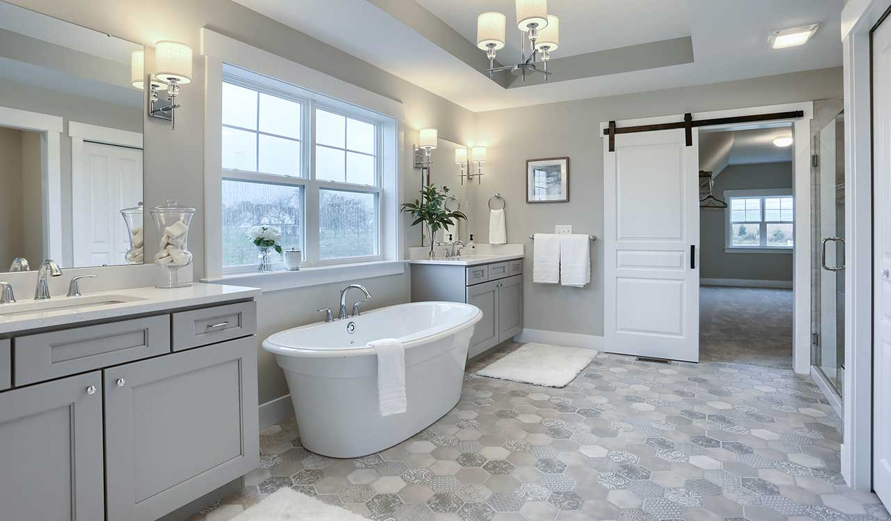 Gray bathroom remodel in Doylestown, PA from Interior Trend