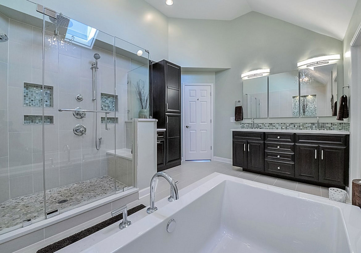Black and white bathroom design in Newtown, PA from Interior Trend